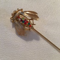 Vintage Rainbow Rhinestone Bumble Bee Stick Pin Signed JJ