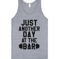 Just Another Day At The Bar (barbell)-Unisex Athletic Grey Tank