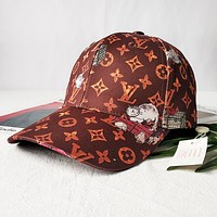 LV Louis Vuitton Fashion Women Men Cute Cat Print Sports Sun Hat Baseball Cap Hat