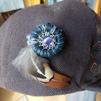 Sacred Geometry Heady Dream Catcher Hat Pin with Amethyst // Festival Accessories