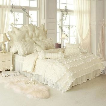 4/6/8-Pieces Cotton Luxury wedding Bedding Set lace Bed Set King Queen Twin size Bed Linens beige Duvet Cover Bed Sheet