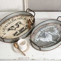 Farmhouse Oval Serving Trays  - Set of 2