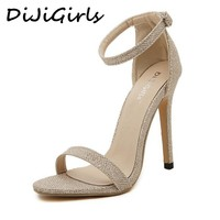 DijiGirls wedding bridal women sandals stilettos pumps high heels ankle strap glitter sequined wedge sexy sandals gold silver