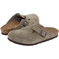 Birkenstock - Boston Suede Taupe Clogs