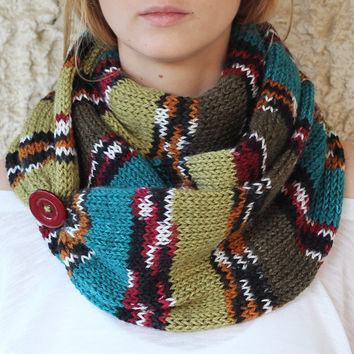 by (Etsy.KnitScarf) Knit Scarf with button, infinity scarf, circle scarf, loop scarf , knit infinity scarf , button scarf, open weave knit scarf