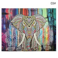 Elephant Tapestry Colored Printed Decorative Mandala Tapestry Indian 130cmx150cm 150cmx210cm Boho Wall Carpet AA