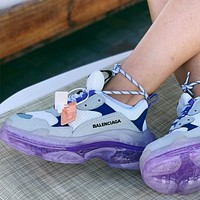 Balenciaga High Quality Contrast Crystal clear shoes Triple sole Shoes-4