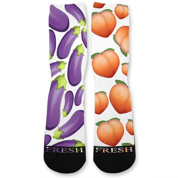 Eggplant And Peaches Custom Athletic Fresh Socks