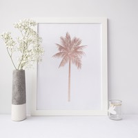 Rose Gold Palm Tree Beach Wall Art Print or Canvas