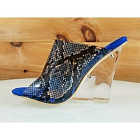 "Mac J Blue Transparent Snake Print Slip On Clog 3.75"" Clear Acrylic Wedge  7-11"