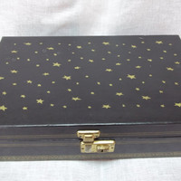 Vintage Black Jewelry Box with Gold Stars by ssmith7157 on Etsy