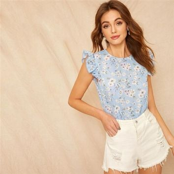 Ditsy Floral Ruffle Trim Top Sweet  Blue Pastel Women Clothing Round Neck Sleeveless Tops And Blouses