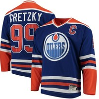 Men's Edmonton Oilers Wayne Gretzky CCM Royal Heroes of Hockey Authentic Throwback Jersey