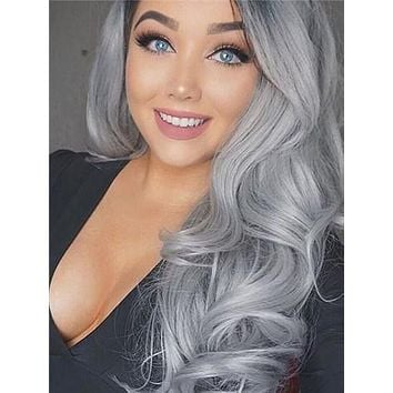 Long Stylish Enhancing Gray Ombre Wave Synthetic Lace Front Wig