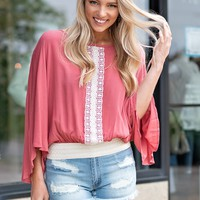 Nobody But You Gauze Top : Coral