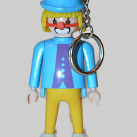 Vintage Playmobil Clown Keychain Collection Key Chain 1986 Clown Toy Action Figure Mime Blue Clown Vintage Clown Retro Toy 80s Toy Gifts