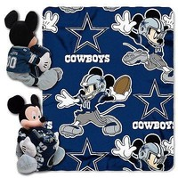 Dallas Cowboys NFL Mickey Mouse Throw and Hugger Pillow Set