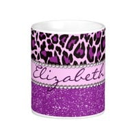Personalized Purple Leopard Print Glitter Coffee Mug