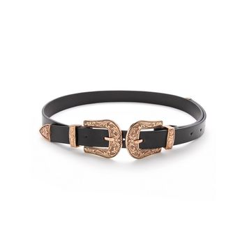Double Buckle Western Belt Black