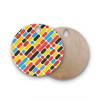 """Tobe Fonseca """"Colorful Trend Pattern"""" Red Yellow Digital Round Wooden Cutting Board"""