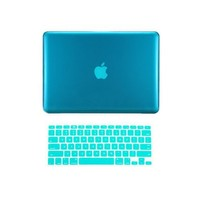 """TopCase 2 in 1 Crystal See Thru Hard Case Cover and Keyboard Cover for Macbook Pro 13-inch 13"""" A1278 (case NOT for Retina Display) with TopCase Mouse Pad (Macbook Pro 13"""" A1278, Aqua Blue)"""