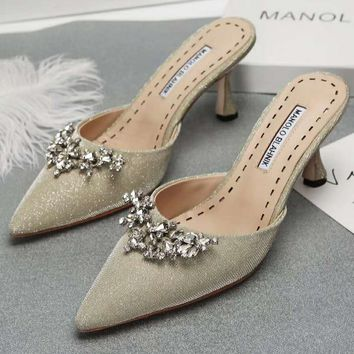 Manolo Blahnik Women Fashion Casual Heels Shoes