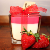 Strawberry Hand Crafted Natural Soy Candle Fragranced with Strawberries and Créme