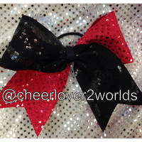 Cheer Bow - Red Sparkle with Black Sequin Shiny Cheerleading Dance Ribbon