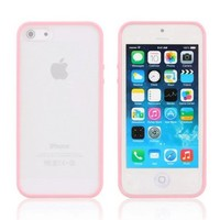 iPhone 6 Case, Light Pink Hybrid Bumper Back Cover Case, tekSonic Candy Trim Series - [1.5mm Slim Fit] [Shock Absorption] Jelly Silicone TPU Bumper with Frosted Clear Hard Back Cover Case for Apple iPhone 6 (4.7 inch) (Baby Pink)