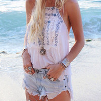 White Spaghetti Strap Backless Tribal Embroidered Cami Top -SheIn(Sheinside)