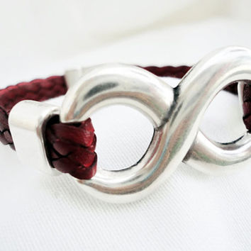 Bordeaux braided leather bracelet for men, for woman, silver plated infinity link,