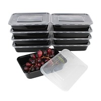 10Pcs 450ML Black Disposable Food Container Snack Packing Boxes Microwaveable PP Lunch Bento Box