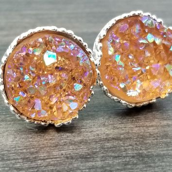Ab peach faux druzy in Crown stud earrings (you pick setting tone)