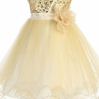 Baby Girls Gold Sequin Party Dress w. Lettuce Tulle Hem 3-24m