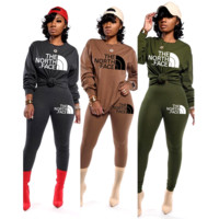 THE NORTH FACE Women Fashion High Collar Sweater Pants Set Two-Piece
