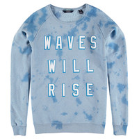 """Waves Will Rise"" Tie Dye Denim Sweatshirt"