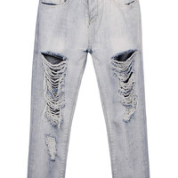White Mom Jeans With Rips & Distressing Detail