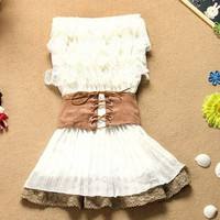 COUNTRY RUFFLE LACE STYLE MINI DRESS