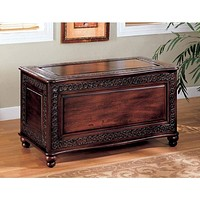 Traditional Cedar Chest with Carving and Bun Feet, Brown By Coaster