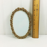Small Oval Frame Twisted Braid Gold Bells & Bow with Rhinestones, 1990s Easel Back Display