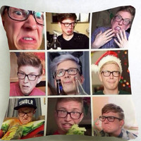 Tyler Oakley funy face pillow case === custom pillow one and two side size 16x16,18x18,20x20
