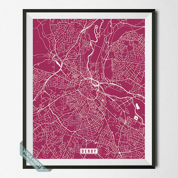 Derby Print, England Poster, Derby Poster, Derby Map, England Print, Street Map, England Map, Map Poster, Wall Art