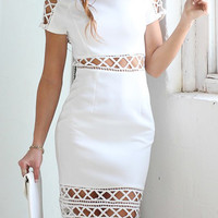 White Cut Out Midi Dress