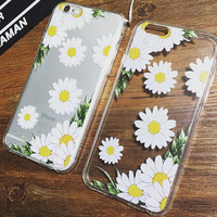 Printed Daisy Transparent Iphone Cases