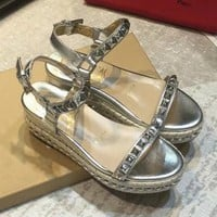 Christian Louboutin Summer Fashion new thick bottom rivets high heel women leisure shoes sandals Silver