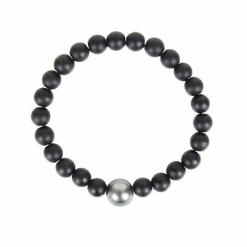Black Onyx and Tahitian Pearl Bracelet