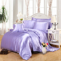 light purple silk bedding sets super smooth feeling quilt cover linens Twin Queen King size comforter set sheets sets coverlet