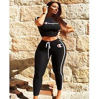 Champion Fashion New Letter Print Sports Leisure Top And Pants Two Piece Suit Women Black