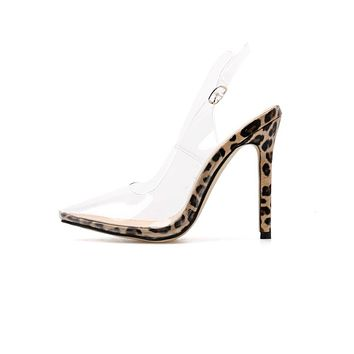 CAELAN Ladies Transparent Printed Strap Heels
