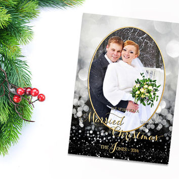 Printable Christmas card, printable photo Christmas card, DIY card, black gold card, Married Christmas card, personalized card C024 Chloe